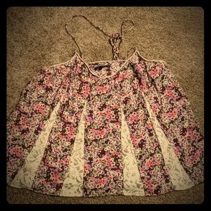 Floral and Lace String Tie Tanktop